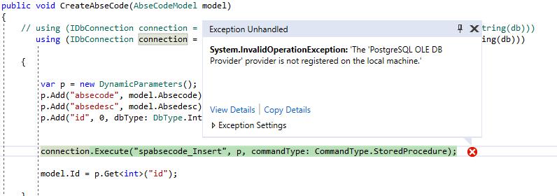 How do i resolve an Error writing to Database through a stored Procedure