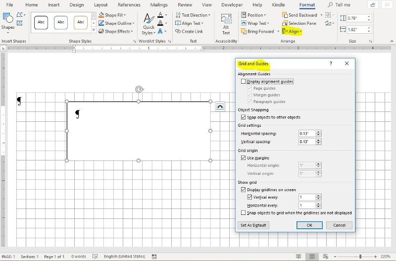 Grid and Guides dialog for current version of Word