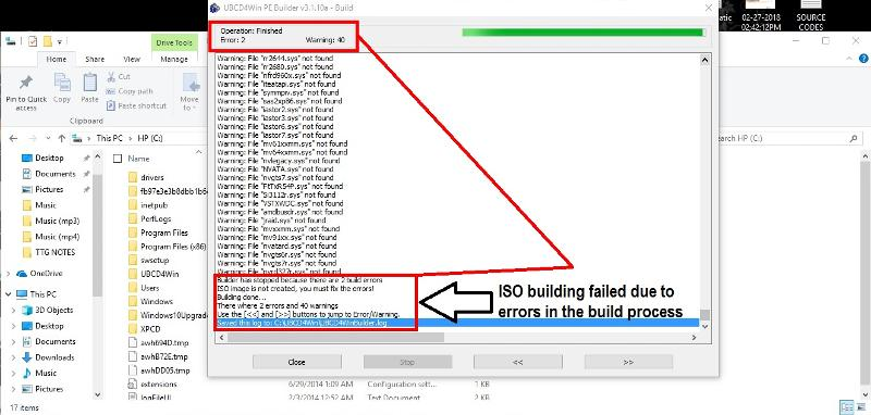 UBCD4WIN-Builder-registry-finished-ISO-build-failed