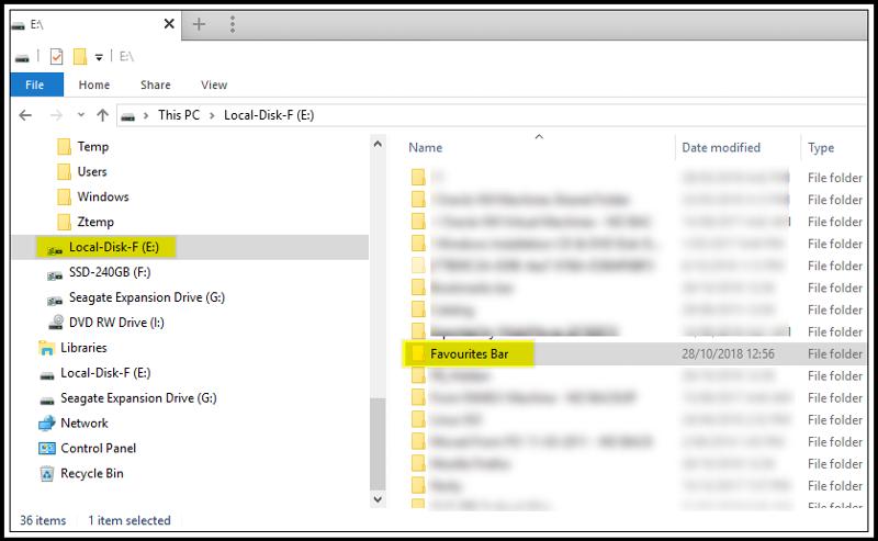 New Favorites Bar Folder