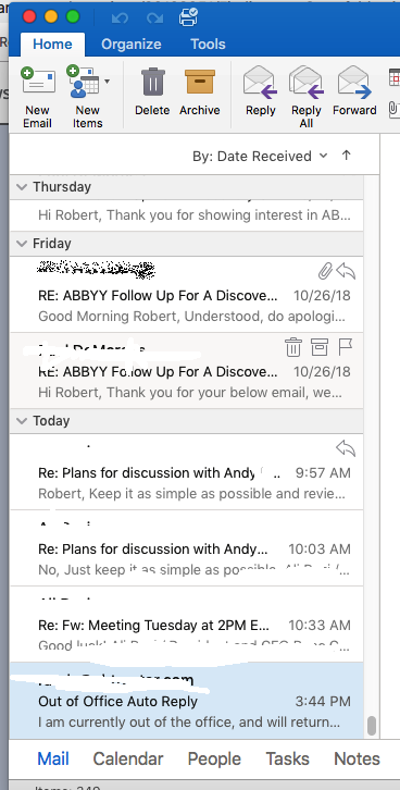 Inbox Outlook (Mac)