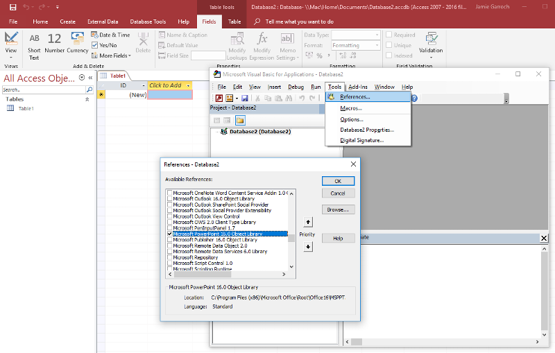 Access VBE add Reference to PowerPoint library