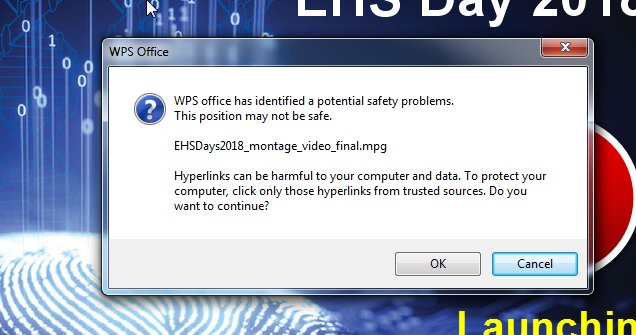error security warning pop out