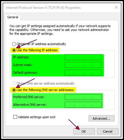 Internet Protocol Version 4 (TCP/IPv4) Properties Settings Windows