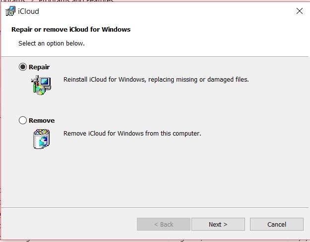 repair icloud for windows to use icloud with outlook