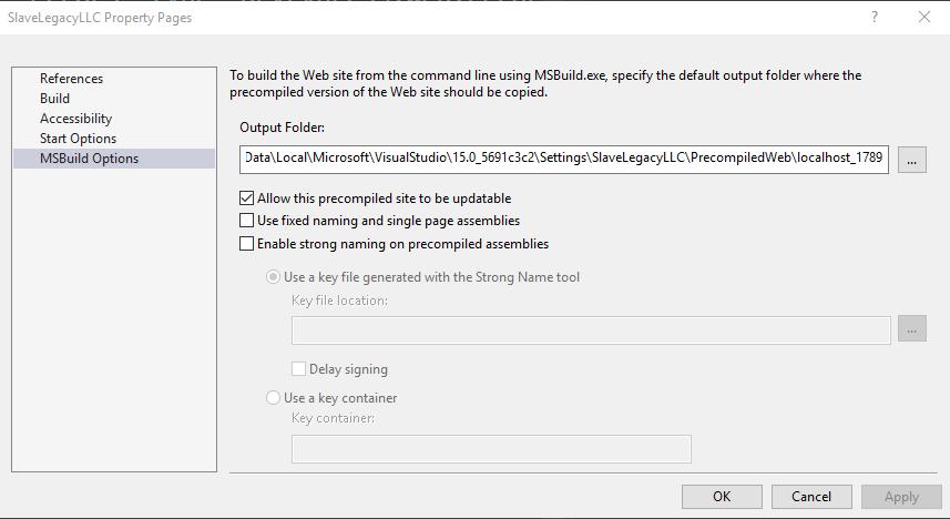 Error running ASP NET Web Application within Visual Studio