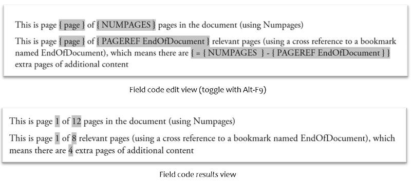 Field codes and results showing how Pageref can be used