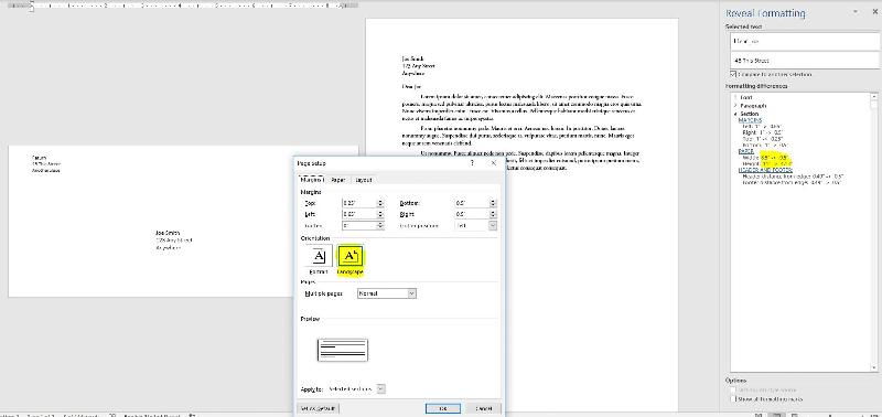 Envelopes are added in a landscape section