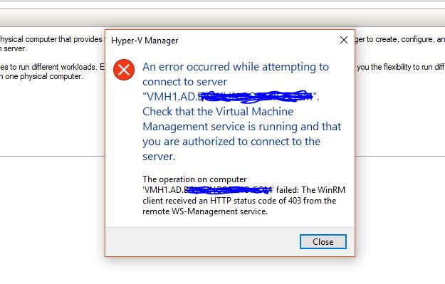 Hyper-V Manager receiving Http 403 Error