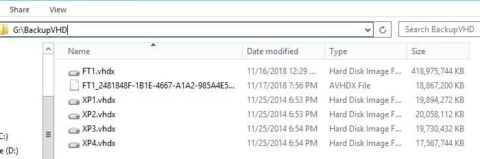 VHD Backup Folder