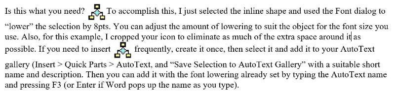 Use Font > Advanced > Position = Lowered to lower an inline object