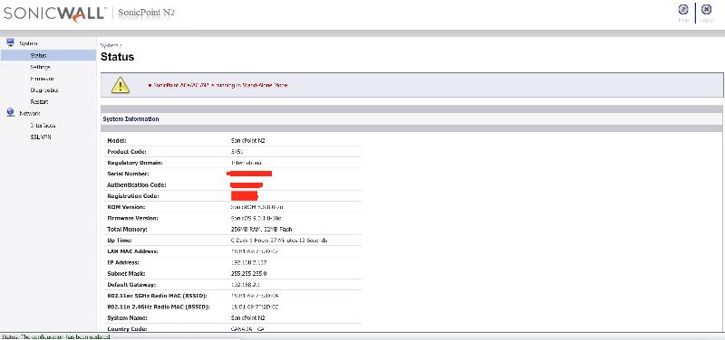screenshot of firmware page