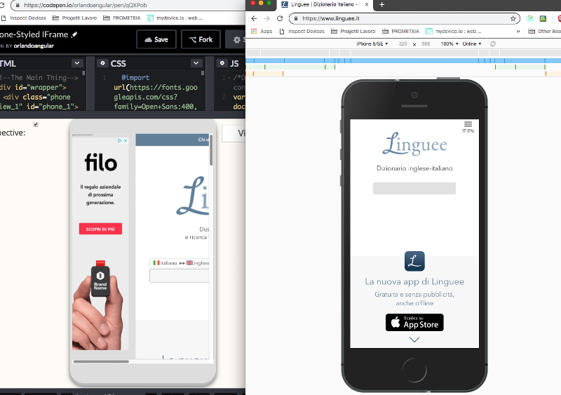 example of mobile website in iframe and in simulator