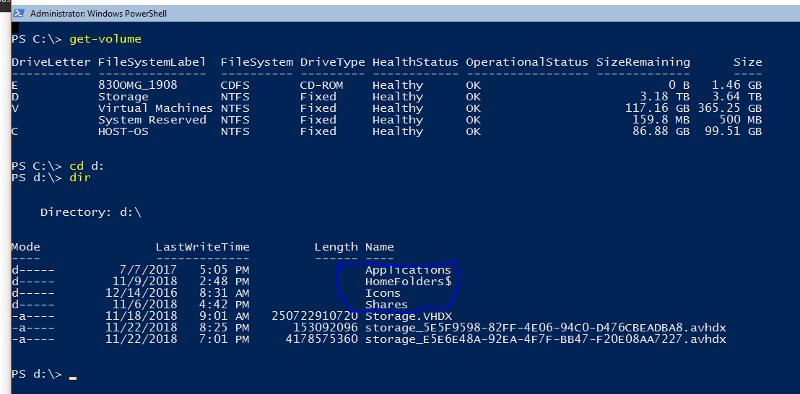 Files in VM Host physical disk volume