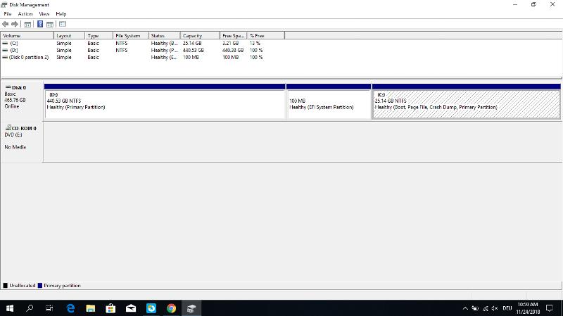 Win10 Disk Management