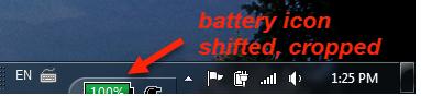 Lenovo taskbar - battery icon shifted