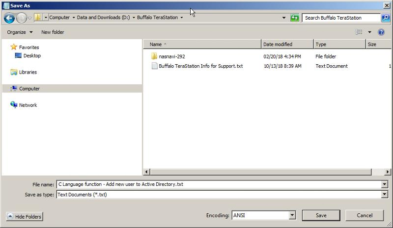 Save As dialog box as it initially appears...