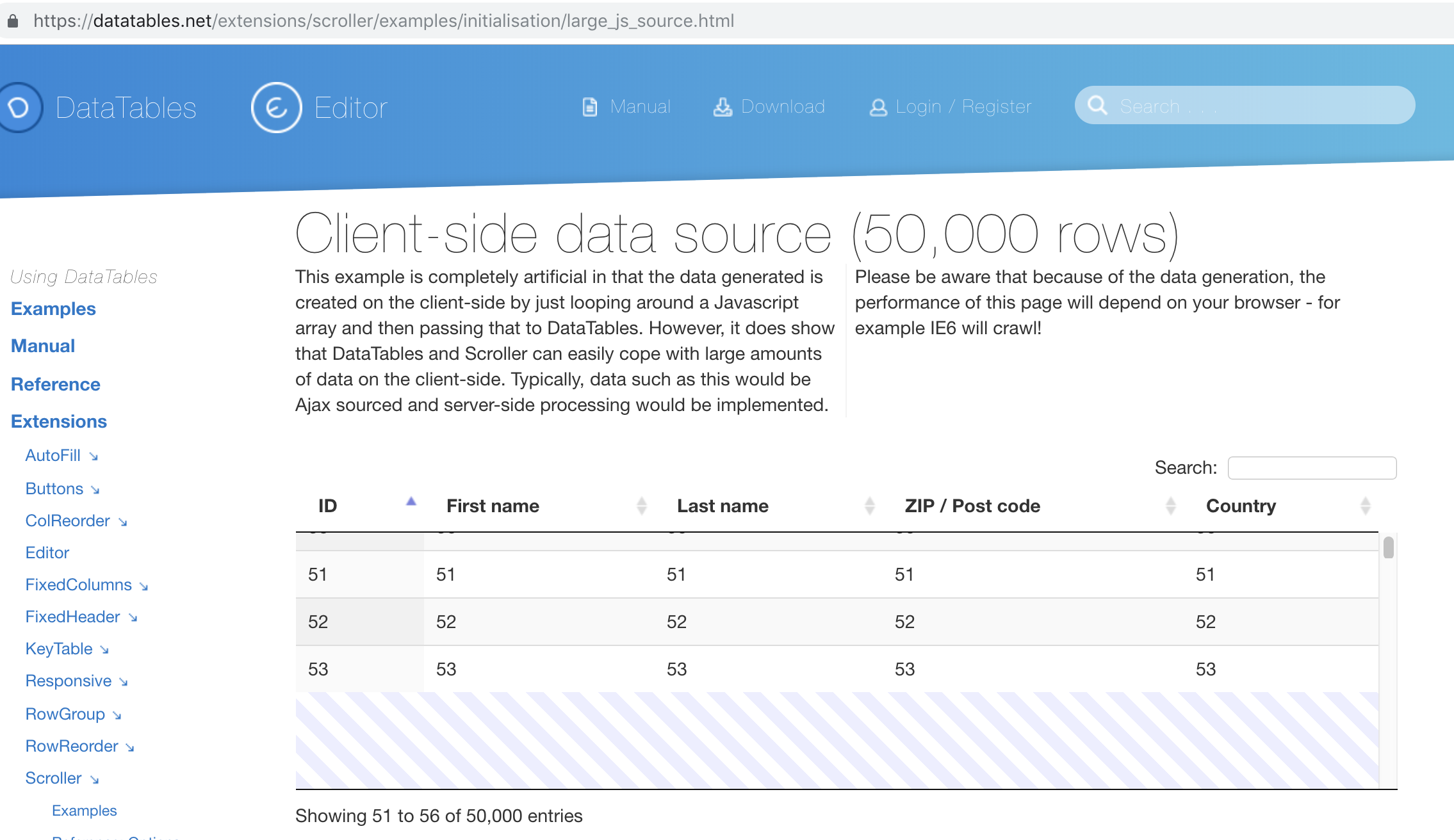 Datatable Takes Huge Time To Render for just 10,000 records
