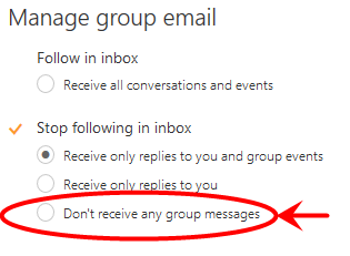 Desired O365 settings for all members of the group