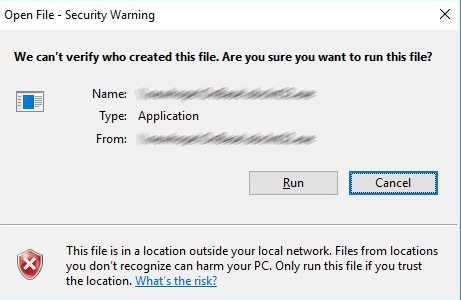 Open File - Security Warning for programs on network shares