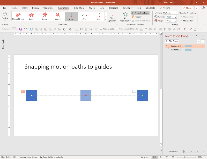 Snapping motion paths to guides
