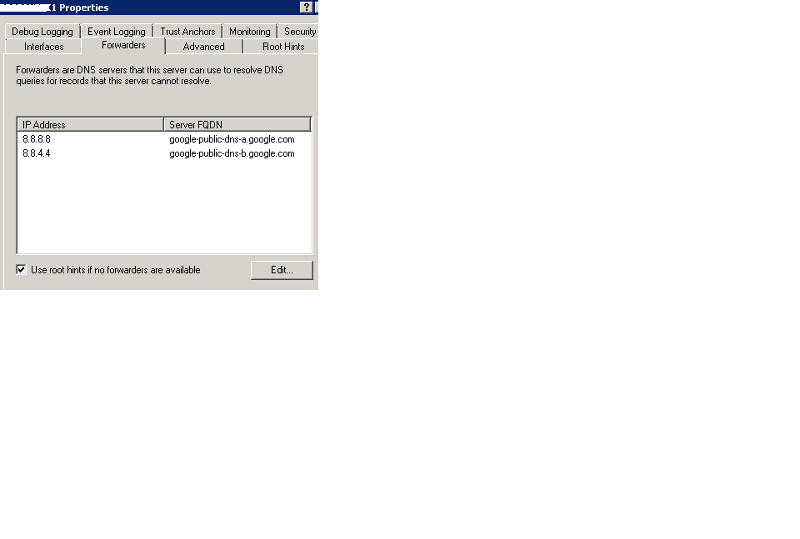 DNS Forwarder in DNS Manager