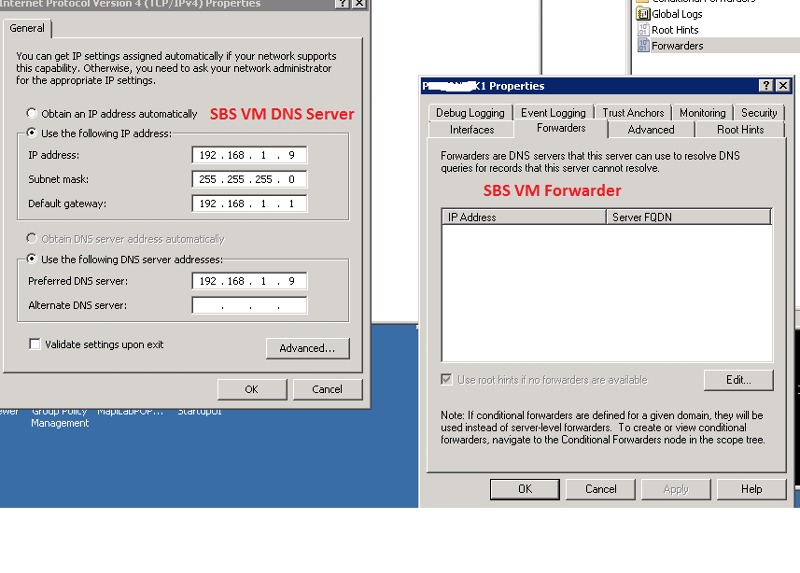 SBS VM IP and Forwarder