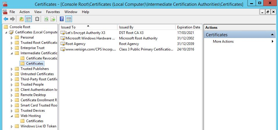 Certificate validation failed for only one sender