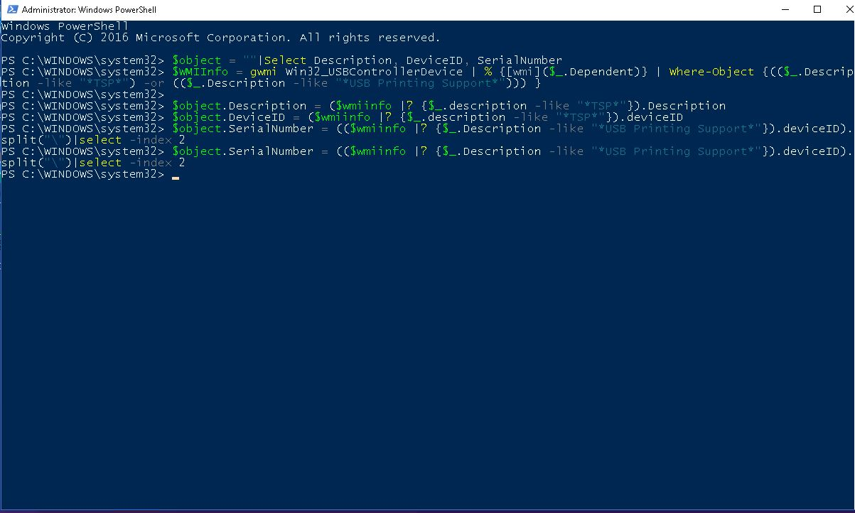Powershell Query to show serial number for USB Attached Devices
