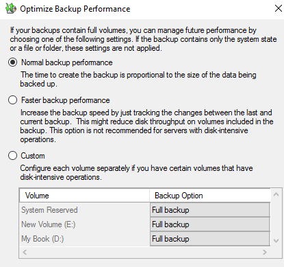 Backup Performance Option