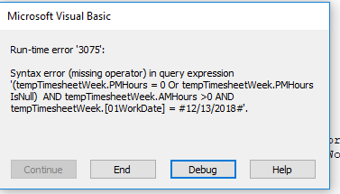 Need help with run time error 3075 - syntax error for SQL