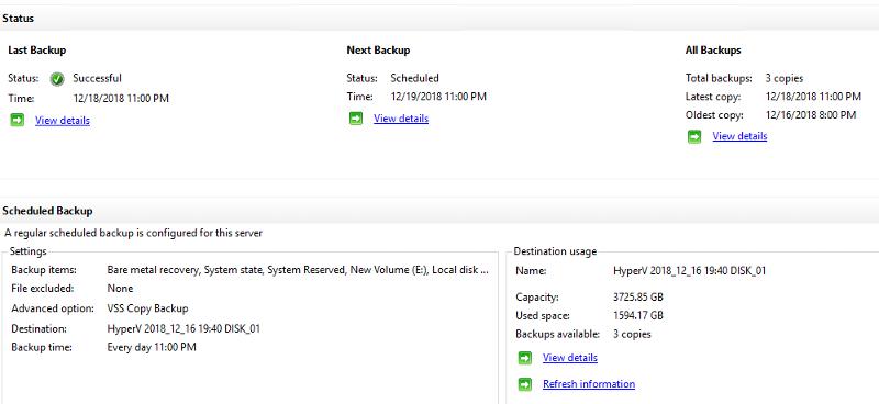 Windows Server Backup Summary