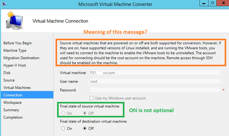 MVMC Connection Option Screeb