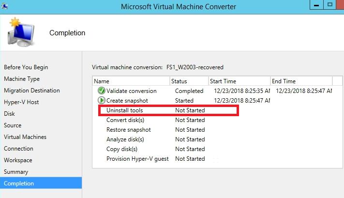 Convertion Process Screen