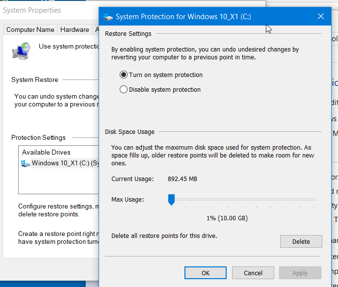 Windows 10 Restore Points