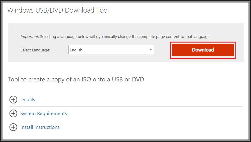windows usb/dvd download tool install location
