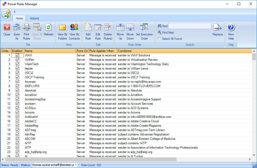 Initial view of Power Rules Manager window.  This lists all your outlook rules.