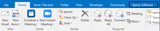 picture of outlook toolbar after installing Sperry Software add-in (showing Sperry Software tab)