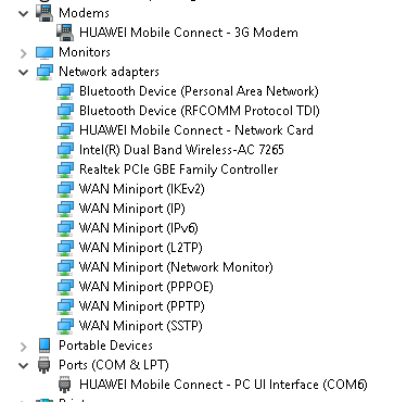 Need help setting up Huawei E3372 4G dongle in Windows 10