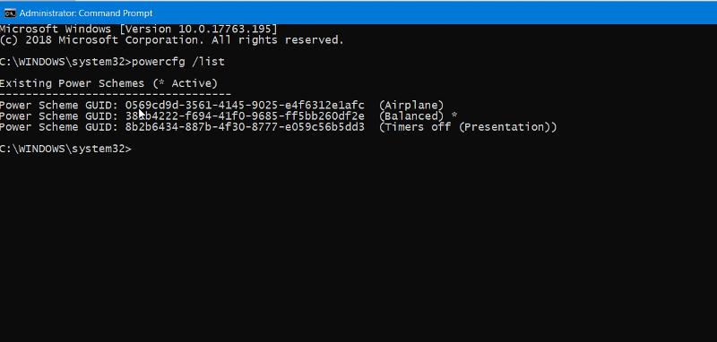 Windows 10 powercfg
