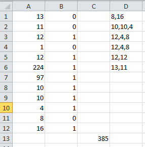 """Results received after running macro ABC stored in Excel Workbook """"Bonkers2.xlsm"""