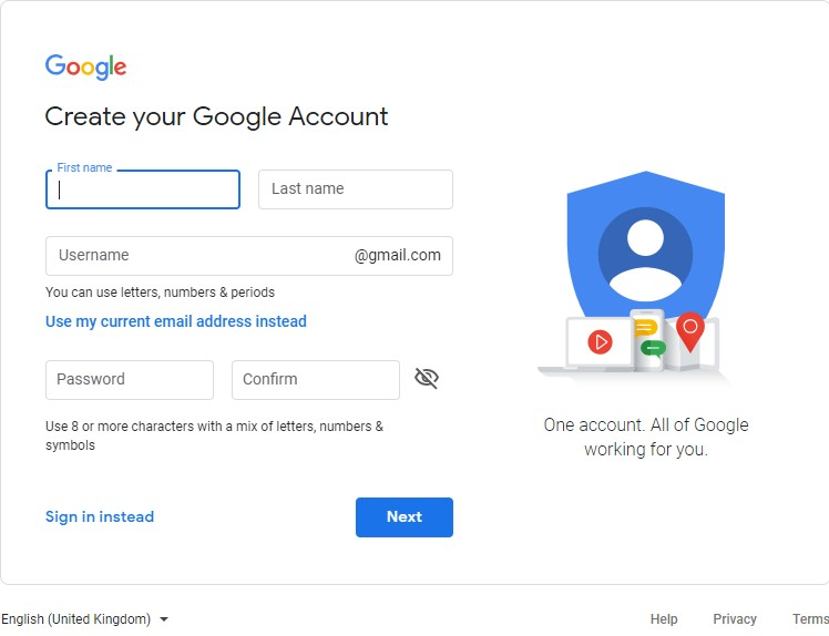 Create your Google Account using your own email address