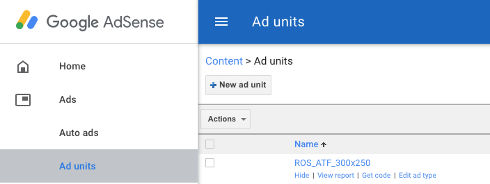 adsense create ad unit