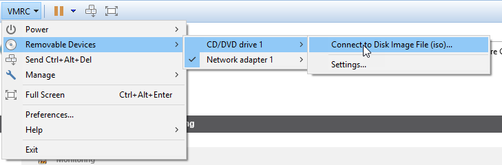 Attaching ISO from VMWare Remote Console