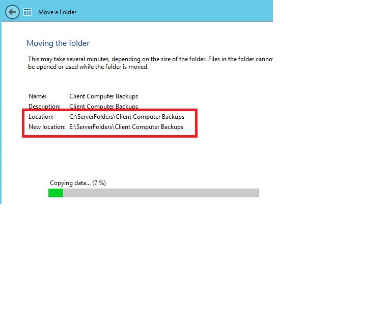 Moving Client Computer Backups Folder
