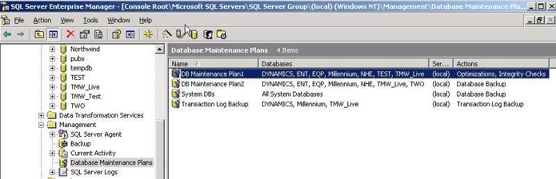 Database  Maintenance Plans
