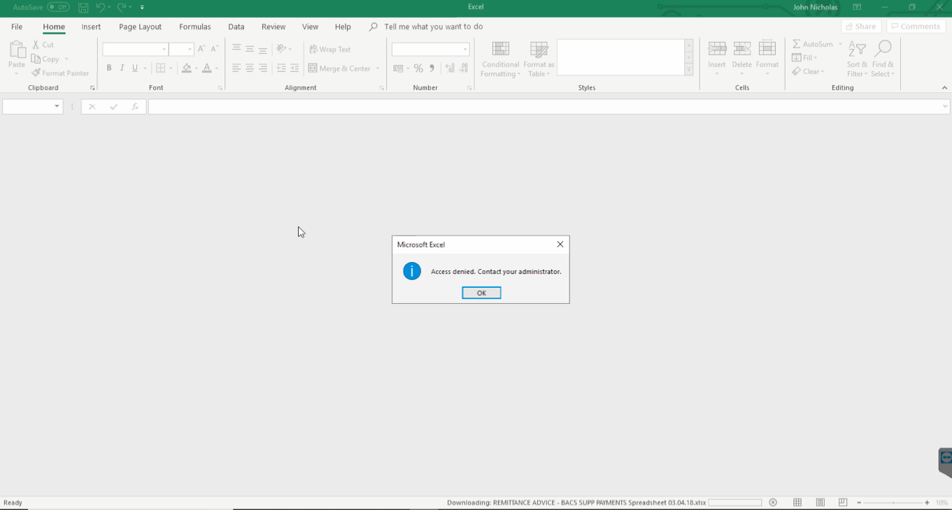 microsoft office 2013 access denied contact your administrator