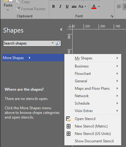 visio shapes missing