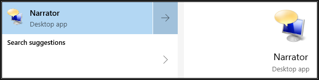 Windows Narrator Desktop app snapshot