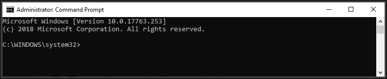 Image of an Administrator Command Prompt window ready for input of commands